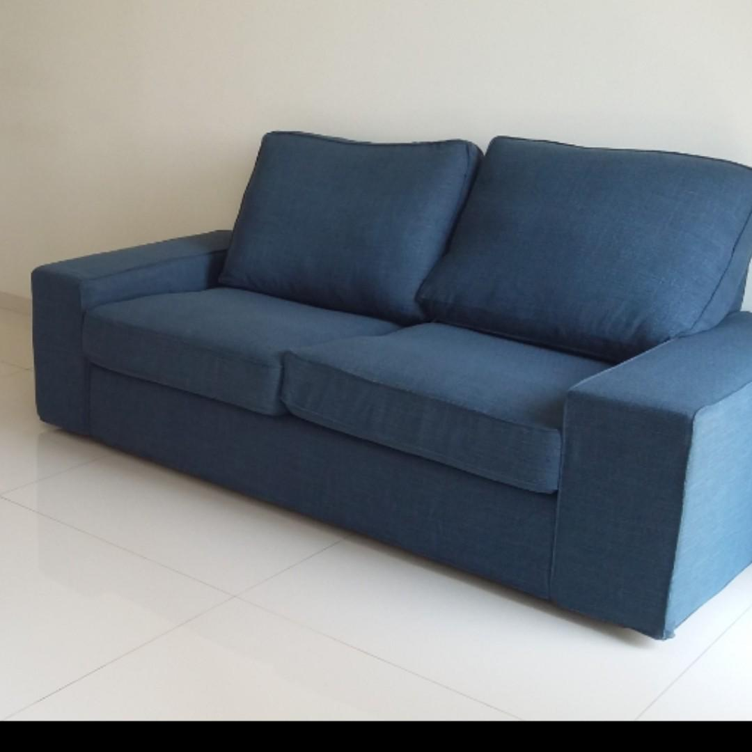 Picture of: Large 2 Seater Dark Blue Sofa Furniture Sofas On Carousell