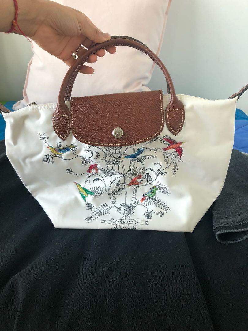 "Longchamp mini ""Tree of Life"" White handbag, Women s Fashion, Bags ... 7502a7598e"
