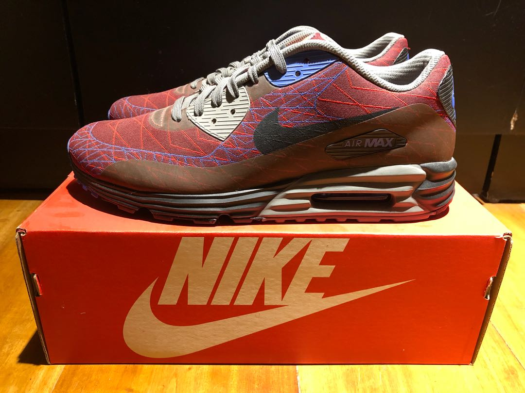 huge discount 8e770 f68ab NEW NIKE AIR MAX LUNAR 90 JACQUARD RED CLAY BLACK-VIOLET FORCE ...