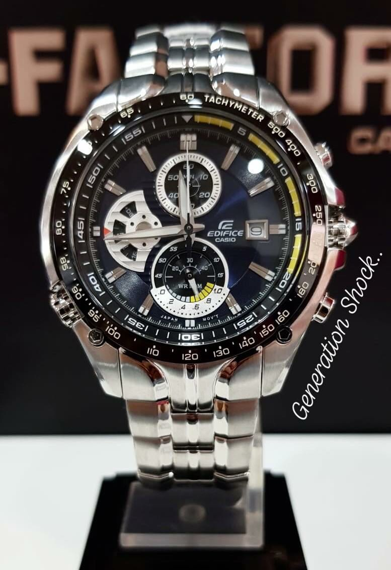 Newarrival In Edifice Diver Casio Sports Watch 1 Year Official 543d Stainless Silver Chrono Men Warranty 100 Original Authentic Tachymeter Chronograph Tough Steel