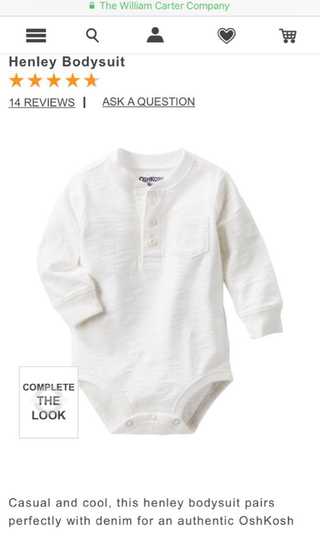 4f382bbd4 Oshkosh 9 months old Henley casual and cool white long sleeves ...