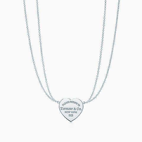 Tiffany Co Necklace Double Chain Heart Tag Women S Fashion Jewellery Necklaces On Carousell