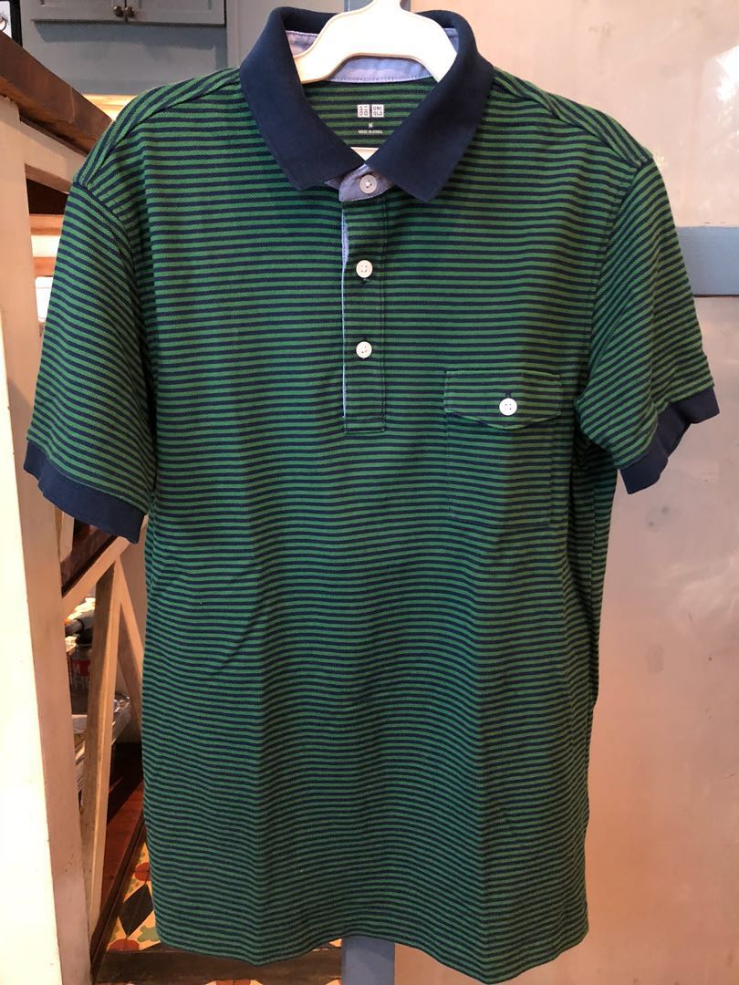 Uniqlo Green Collared Shirt Mens Fashion Clothes Tops On Carousell