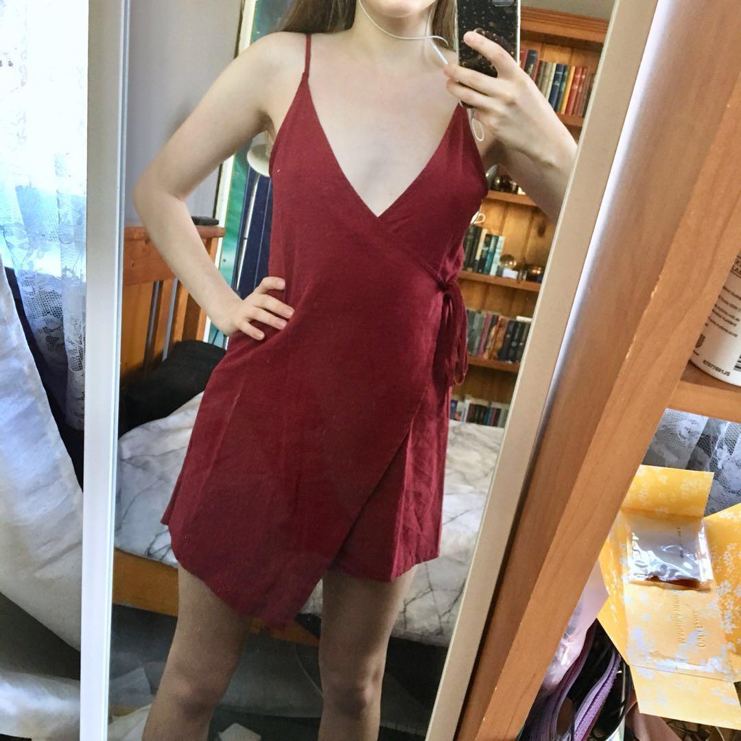 Wine red wrap dress 6