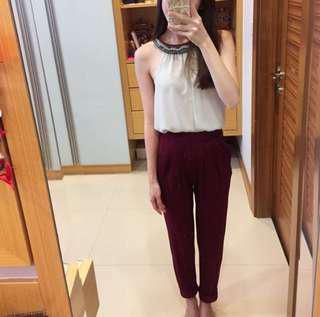 Asos Burgundy Peg Trouser Pants (N)