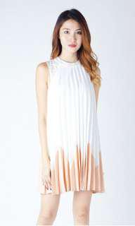 ZINNA PLEAT TRAPEZE DRESS WHITE