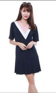 DOTS PLEATED DRESS - NAVY