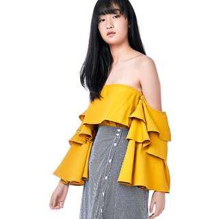 TEM Zaydie Tiered Sleeve Top - Marigold
