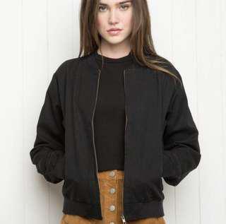 Brandy melville kasey bomber black zip jacket casey