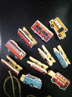 Wooden clip bus design 10pcs + ropes