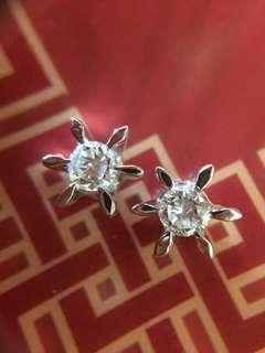 ✨☀️ 鉑金 天然鑽石耳環 ☀️✨