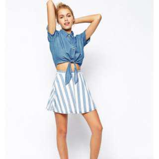 American Apparel Striped Denim Circle Skirt