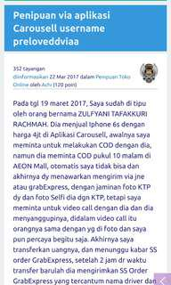 Wanted Penipuan Carousell