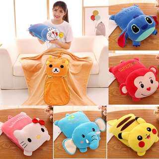(P.O) Plush Soft 2 in 1 Cartoon Blanket Cushion Pillow