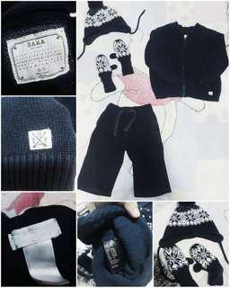 Branded Winter Attire Set for Boys 2t (Zara Knitwear Jacket, H&M Knitted Beanie and Mittens, Old Navy Fleece Pants)