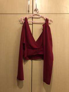 💁🏻♀️: (PRELOVED) Secret Wonderland Red Long Sleeve Top