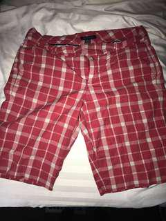 Red and White Plaid Tommy Hilfiger Mid-Shorts