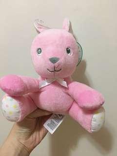 粉紅柔軟兔兔毛公仔嬰兒使用不掉毛 soft toy for baby pink rabbit
