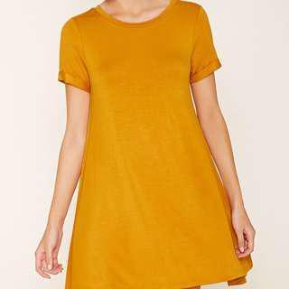 F21 mustard yellow t shirt dress