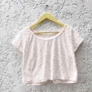 Pastel Pink Floral Textured Crop Top