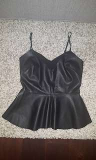 Faux leather peplum top small