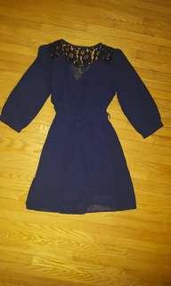 F21 Navy blue wrap dress small