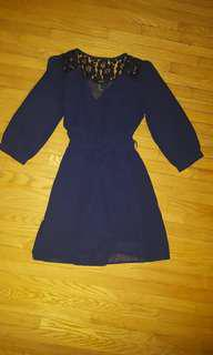 F21 Navy blue wrap dress small