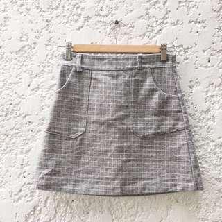 Vintage Grey Grid Skirt