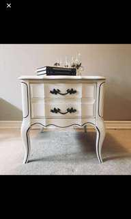 French marble top vintage end table