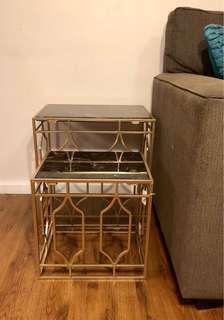 Brand new willow champagne gold marble side tables set of 2