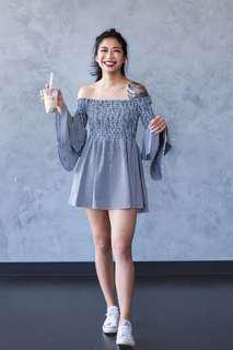 Off shoulder striped dress