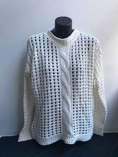 White knit crochet throw over jumper