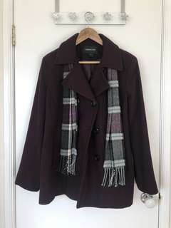 London Fog Purple Pea Coat with Scarf (S)