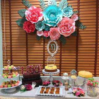 Paper flower backdrop perfect for your dessert table