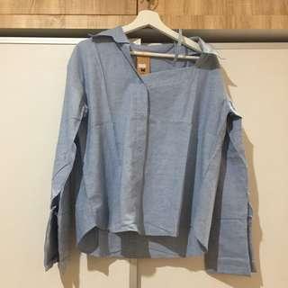 Light Blue Off Shoulder Shirt