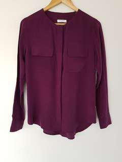 Equipment Femme 100% Silk Shirt in Plum/Purple - Size S (8 to 10)
