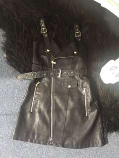 Black faux leather buckle moschino style dress