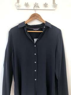 Tommy Hilfiger Navy Marlina Silk Blouse LS Peacoat (6)