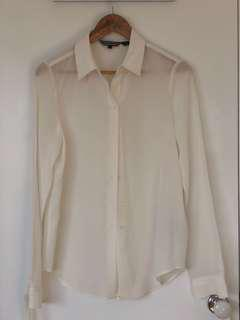 Tommy Hilfiger White Marlina Silk Blouse LS Peacoat (6)