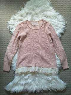 Soft fluffy pink lace sweater