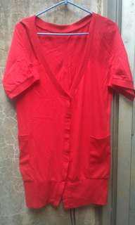 Red Pocket Cardi