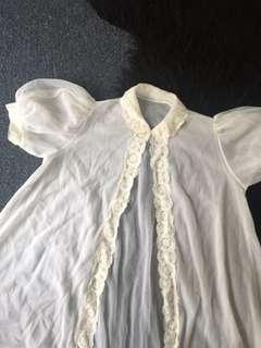 Vintage white lace peignoir bed coat lingerie