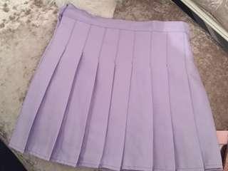 Lilac purple tennis pleated high waisted mini skirt