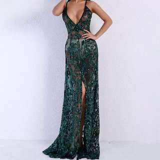 Green Sequined Formal Dress