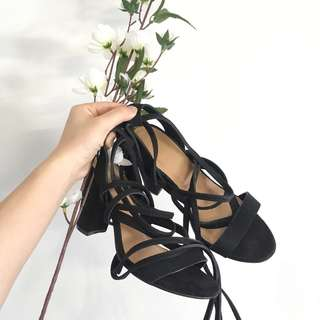 Black lace up heel size 36 (size5-6)
