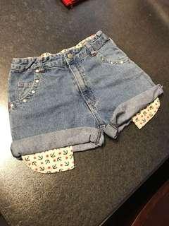 Size140 女童 牛仔短褲 kids denim shorts  jeans