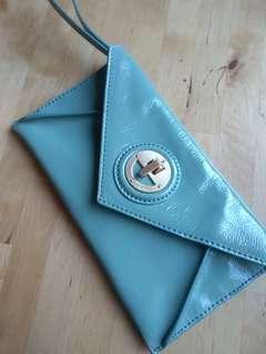Mimco pale green envelope clutch