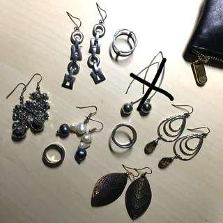FREE EARRINGS AND RINGS SILVER GOLD