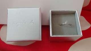 Agnis B 日本版 全新正版 底有2粒閃石 銀色字形介子 ring