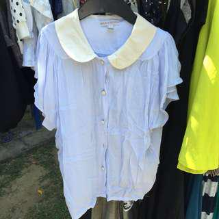 Milk & Rose blue blouse with white collar
